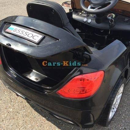 Электромобиль БМВ Б555ОС черный (резиновые колеса, кожа, пульт, музыка)