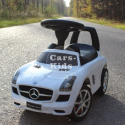 Толокар Mercedes SLS белый (музыка, гудок, бардачок)