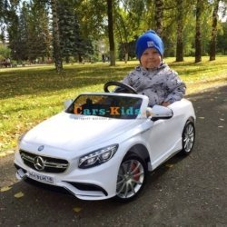 Электромобиль Mercedes-Benz S63 AMG белый (колеса резина, сиденье кожа, пульт, музыка)