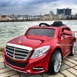 Электромобиль Mercedes Benz S600 красный (усиленный аккумулятор, резина, кожа, пульт, музыка)