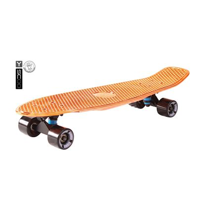 "402H-O Скейтборд Y-SCOO Big Fishskateboard metallic 27"" винил 68,6х19 с сумкой ORANGE/black"