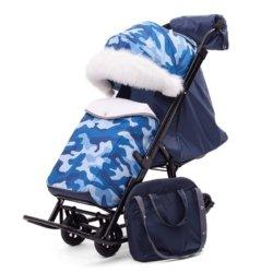 Санки-коляски Pikate Military «Синий» (материал «Dewspoo» плотностью 240 D, овчина, 3 положения спинки, краска рамы темно-серый)