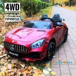 Электромобиль Mercedes-Benz GT R MP3 - HL289-4WD красный (2х местный, колеса резина, кресло кожа, пульт, музыка, кондиционер)