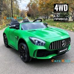 Электромобиль Mercedes-Benz GT R MP3 - HL289-4WD зеленый матовый (2х местный, колеса резина, кресло кожа, пульт, музыка, кондиционер)