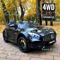 Электромобиль Mercedes-Benz GT R MP3 - HL289-4WD черный (2х местный, колеса резина, кресло кожа, пульт, музыка, кондиционер)