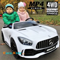 Электромобиль Mercedes-Benz GT R MP4 - HL289-4WD белый (сенсорный дисплей MP4, 2х местный, колеса резина, кресло кожа, пульт, музыка, кондиционер)
