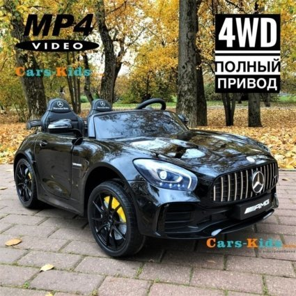 Электромобиль Mercedes-Benz GT R MP4 - HL289-4WD черный (сенсорный дисплей MP4, 2х местный, колеса резина, кресло кожа, пульт, музыка, кондиционер)